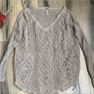 Free People Distressed Cable Knit Pullover Sweater